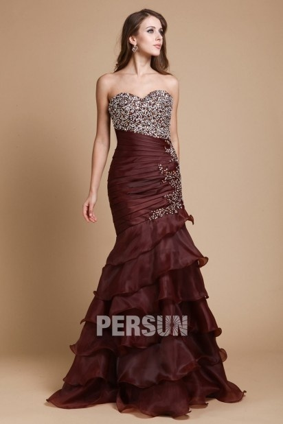 Dressesmall Sweetheart Strapless Mermaid Organza Long Formal Dress