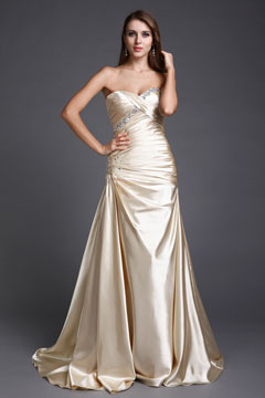 Sweetheart Strapless Trumpet Long Champagne Evening Dress