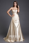 Beading Sweetheart Satin Trumpet School Formal Dress