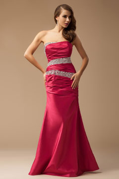 Taffeta Strapless Trumpet Sequins Long Fushia Evening Dress