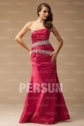 Strapless Beaded Burgundy Mermaid Prom/Formal Dress