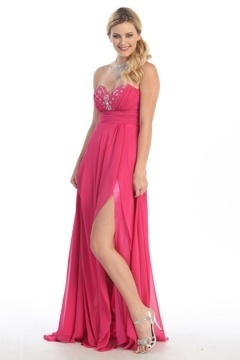 Robe bustier rose style empire longue sol