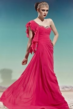 Ealing One Shoulder Ruffles Ruching Red Evening Dress