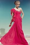2014 One Shoulder Ruffles Ruching Red Chiffon Evening Dress