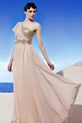 Beading Applique Sequins One Shoulder Tencel Pink Evening Dress