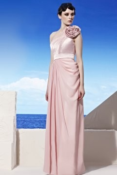 Eastbourne One Shoulder Pleats Flower Pink Evening Gown