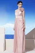 Pleats Flower One Shoulder Chiffon Pink Evening Dress