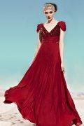 Robe rouge bordeaux à paillettes avec mancheron pour cérémonie