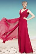 V-neck Red Beading Ruching A-line Tencel Prom / Evening Dress