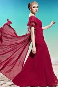 One Shoulder Burgundy Lace Side Draping Tencel Prom / Evening Dress