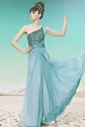 One Shoulder Beading Ruching Green Tencel Evening Dress