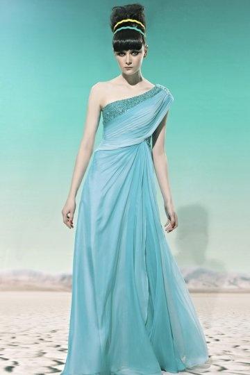 A Linie Tencel Ein Schulter Perlen gefaltetes blaues Abendkleid Persunshop