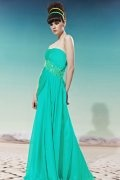 2014 Strapless Side Draping Sequined Green Chiffon Evening Dress