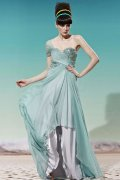 One Shoulder Ruching Sequins A-line Tencel Evening Dress