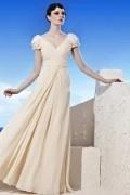 Elégante Robe de cérémonie longue col V mancherons drapés & bijoutés