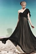 Ruffle Ruching One Shoulder Tencel Black A line Formal Evening Dress
