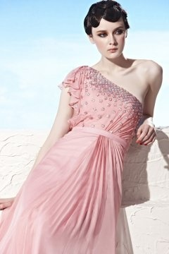 One Shoulder Ruffles Long Pink Prom Dress In Stock