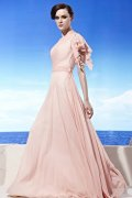 One Shoulder Ruching Side Draping A-line Tencel Prom / Evening Dress