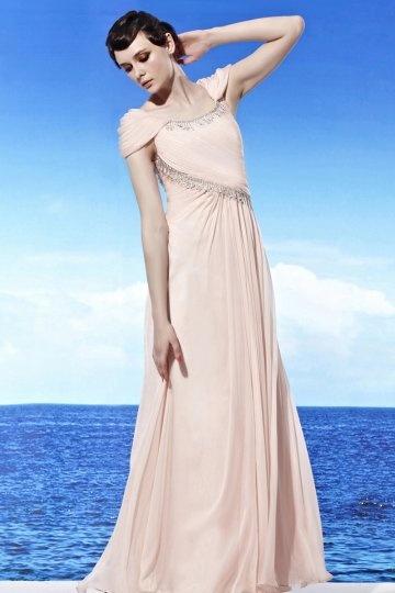 Scoop Cap Sleeve Pink Tencel Prom / Evening Dress