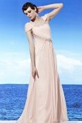 Beading Ruching Scoop Cap Sleeve Tencel Pink School Formal Dress