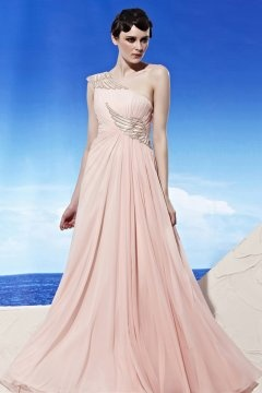 One Shoulder Appliques Floor Length Pink Prom Gown