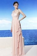 A line One Shoulder Sequins Pink Tencel Prom / Evening Dress