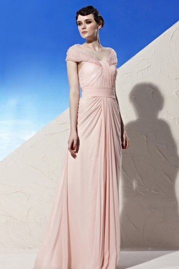 V neck Cap Sleeve Ruching Pink Tencel Prom / Evening Dress