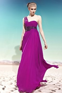 Fenny Stratford One Shoulder Sequins Fuchsia Evening Gown