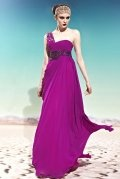 Sequins One Shoulder Chiffon Column Fuchsia Formal Evening Dress