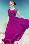 Fuchsia Scoop Beading Lace Ruffles Sleeve Chiffon Prom / Evening Dress