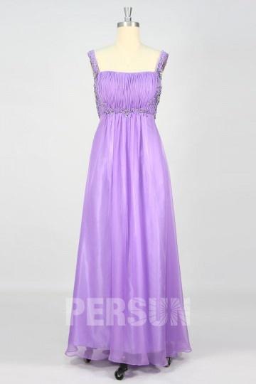 Elegantes A-Linie lila Abendkleider aus Chiffon mit Träge Persun