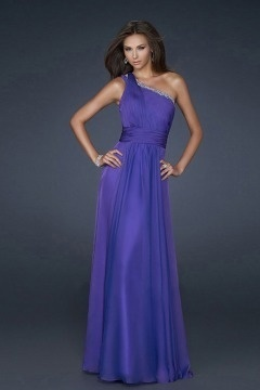 Horley One shoulder Pleated UK Prom Dress in Purple