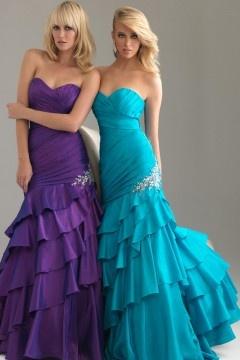 Horncastle Taffeta Strapless Ruffles Beaded Mermaid Prom Gown