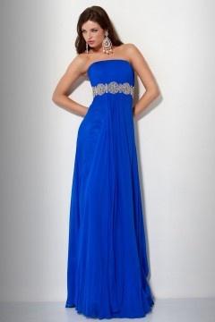 Chiffon Strapless Rhinestone A-line Blue Prom Dress UK