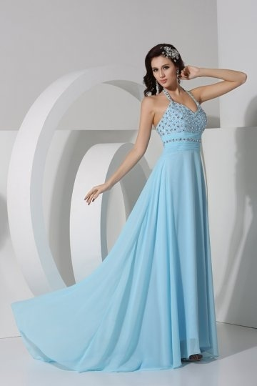 Dressesmall Sexy Crystal Halter Chiffon A line Evening Dress