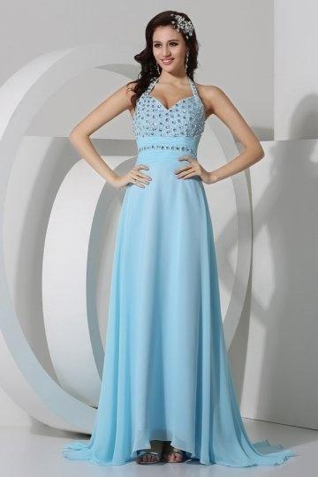 Dressesmall Sexy Crystal Halter Chiffon A line Evening Dress