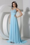 Sexy Crystal Halter Chiffon A line Evening Dress