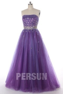 Crystal Beaded Strapless Tulle Regency Ball Gown Prom Dress