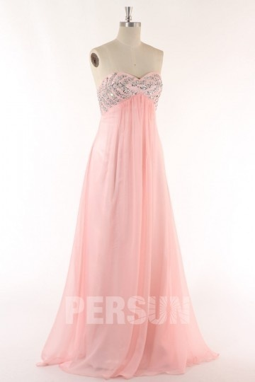 A line Sweetheart Beading Backless Pink Chiffon Prom / Evening Dress