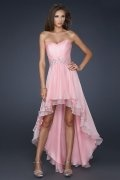 Sweetheart Beading High Low Backless Pink Chiffon Prom / Evening Dress