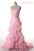 Sweetheart Applique Split Pink Backless Prom / Evening Dress
