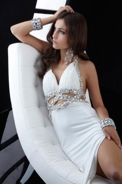 Ripley Sexy Halter Long White UK Prom Dress