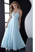 Chic Halter Blaues Bodenlang Ruching Abendkleider aus Chiffon
