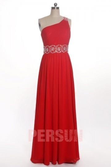 Modisches rot A-Linie Ein Schulter Empire Abendkleider aus Chiffon Persun