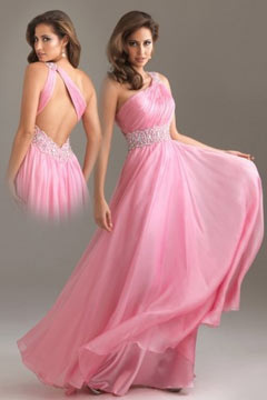 Staveley Chiffon One Shoulder Beading A line Long Prom Dress