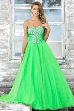 Sweetheart Strapless Tulle Zipper Green Long Prom Dress UK