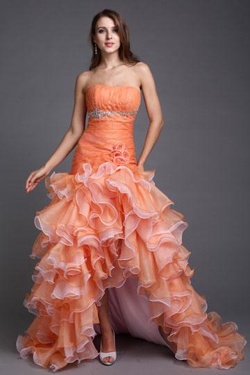 Vestido laranja de baile Frente curta bustiê em organza tomara que caia