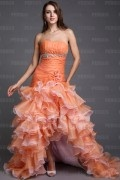 Simple Boat neck Strapless Beading Ruffle Organza High low Cocktail Dress