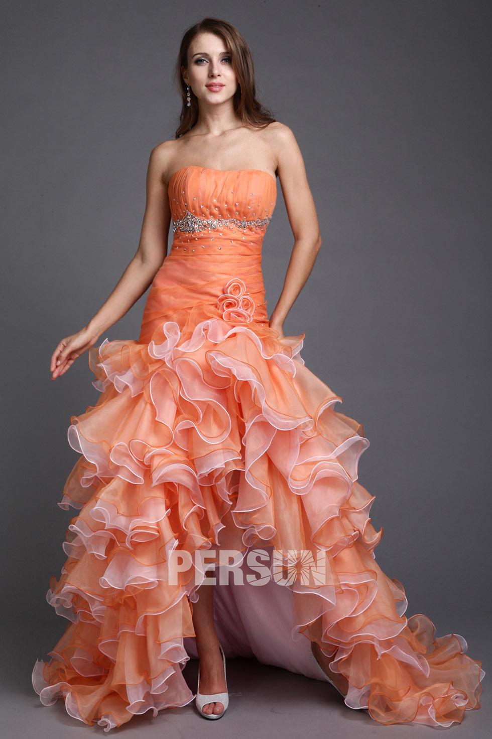 robe orange de bal courte devant longue derri re bustier. Black Bedroom Furniture Sets. Home Design Ideas