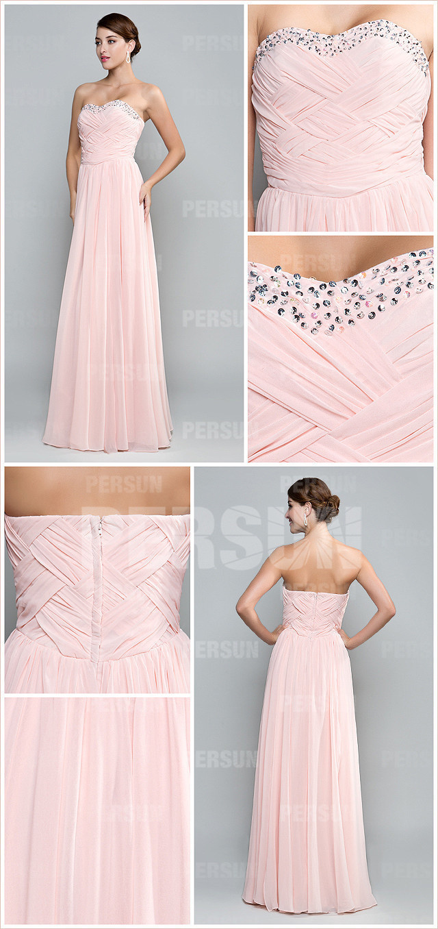 long pink strapless chiffon formal dress